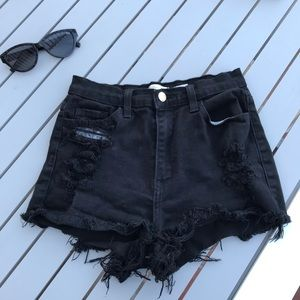 Pants - Black distressed high waisted shorts
